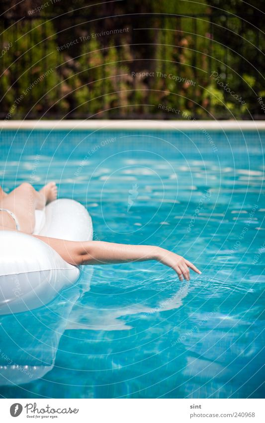 cooling down Well-being Contentment Relaxation Calm Swimming pool Hand Water Summer Beautiful weather Air mattress To enjoy Lie Wet Vacation & Travel
