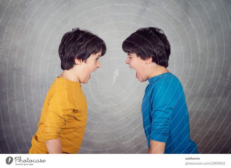 Angry children shouting Lifestyle Human being Masculine Child Toddler Boy (child) Brothers and sisters Family & Relations Friendship Infancy 2 8 - 13 years