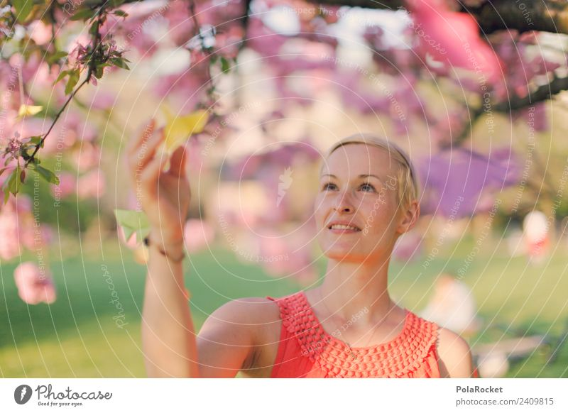 #A# Tender spring Art Work of art Esthetic Spring Spring day Spring colours Spring celebration Woman Face of a woman Decent Looking Pink Rose glasses