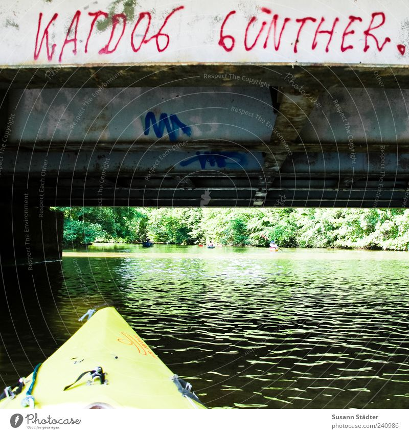 Water Summer Graffiti Characters Bridge River Canoe Daub Street art Kayak Means of transport Capital letter Canoe trip