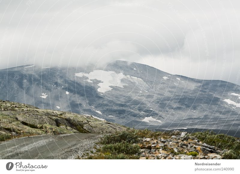 Nature Clouds Landscape Street Mountain Lanes & trails Weather Rock Travel photography Fog Elements Peak Norway Bad weather Pass Gravel road