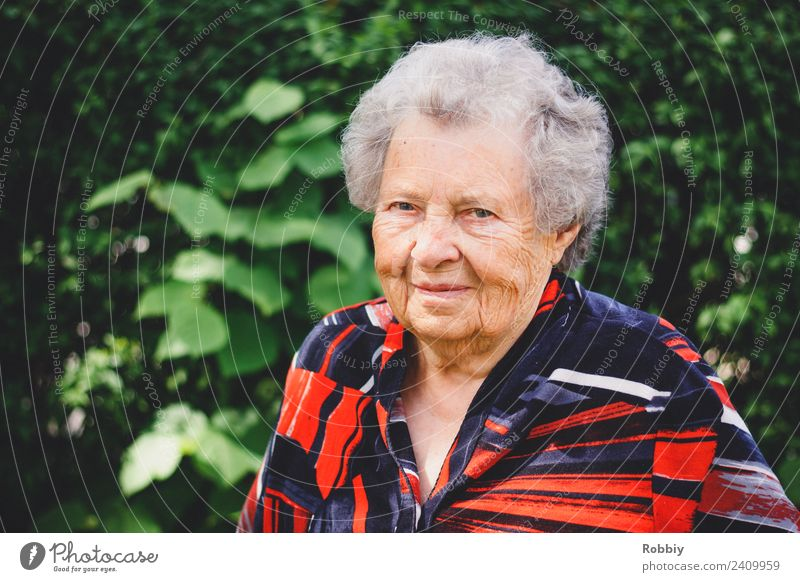 Woman Old Green Red Senior citizen Natural Smiling 60 years and older Female senior Grandmother Wrinkle Retirement Age Care of the elderly Retirement pension