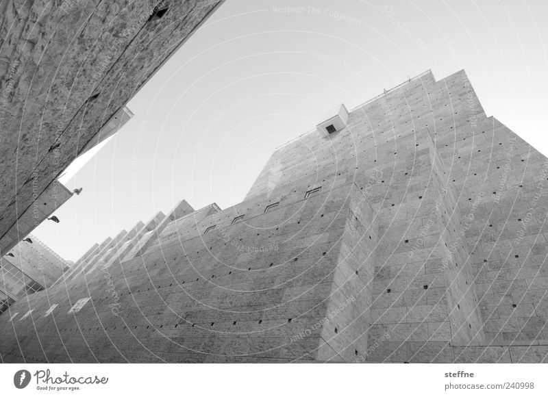 Grand Canyon Museum Lisbon Portugal Architecture Wall (barrier) Wall (building) Facade Tourist Attraction Esthetic Black & white photo Worm's-eye view