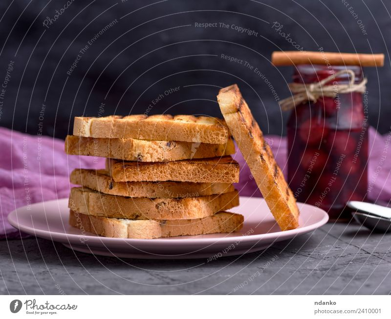 Fried square pieces of bread Bread Jam Breakfast Lunch Plate Table Delicious Brown Black White Stack background Baking Bakery Cereal eat Flour food french grain
