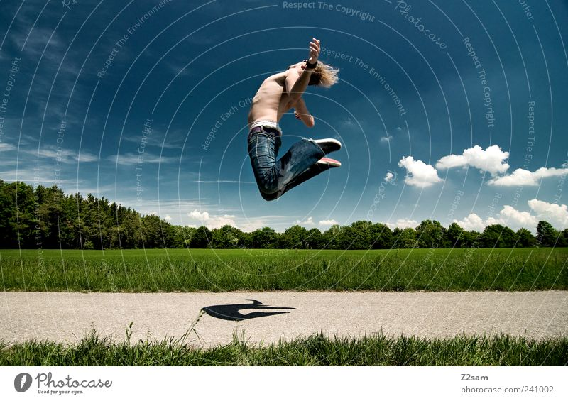 Human being Sky Nature Youth (Young adults) Blue Green Tree Summer Clouds Adults Environment Landscape Meadow Grass Jump Style