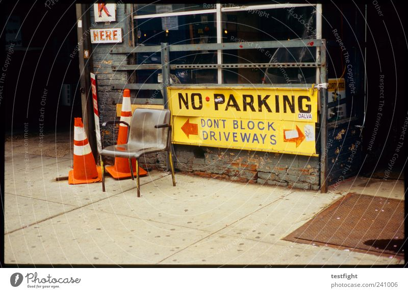 Parking Forbidden Services Craft (trade) Town Work and employment Workshop Signage Prohibition sign USA New York City Traffic cone Sidewalk Colour photo