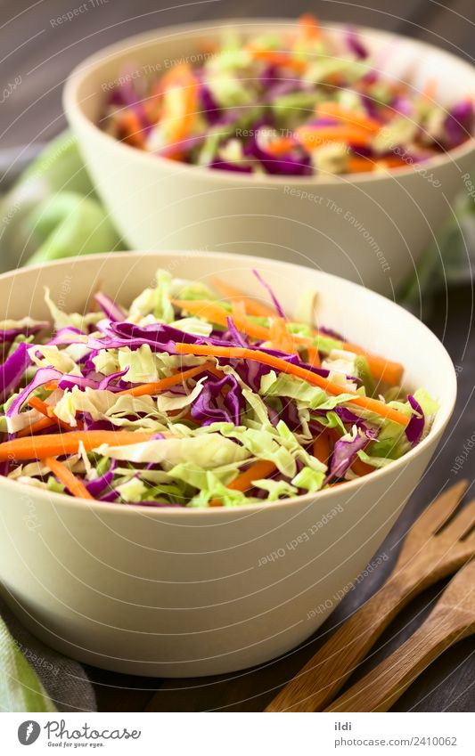 Coleslaw Vegetable Lettuce Salad Vegetarian diet Fresh Healthy food cole cabbage Raw Carrot shredded Cut Home-made colorful seasonal Meal Dish Snack appetizer