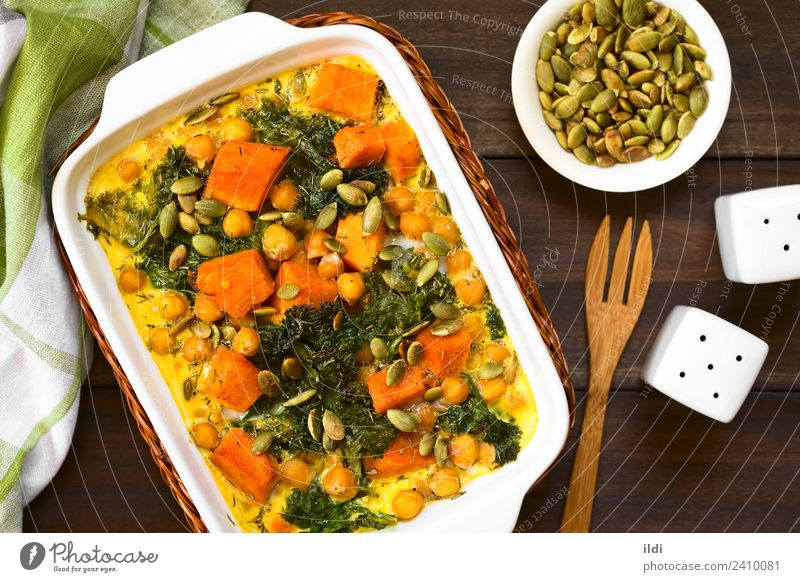 Pumpkin, Kale and Chickpea Casserole Vegetable Vegetarian diet Healthy food squash orange kale cabbage Chickpeas garbanzo legume Pulse seed pepita casserole egg