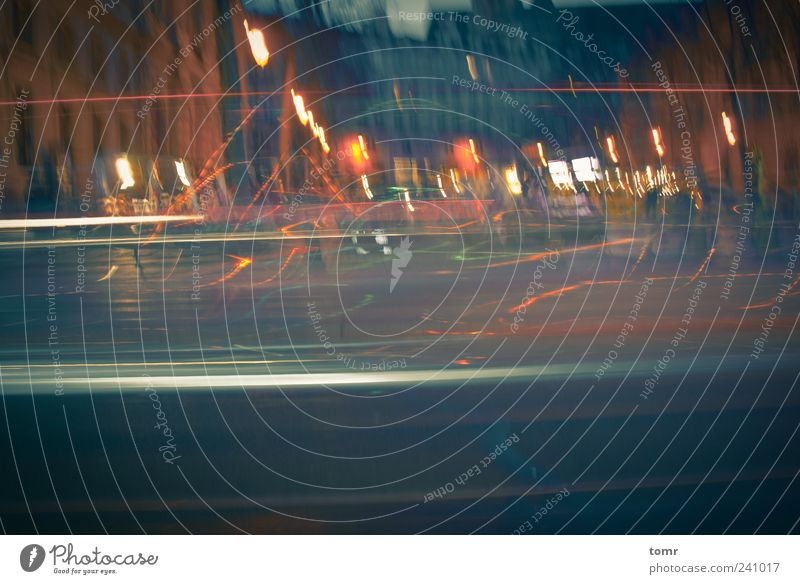 Streetlights in Paris Town Downtown Optimism Colour photo Subdued colour Exterior shot Experimental Lomography Holga Night Long exposure City light Abstract