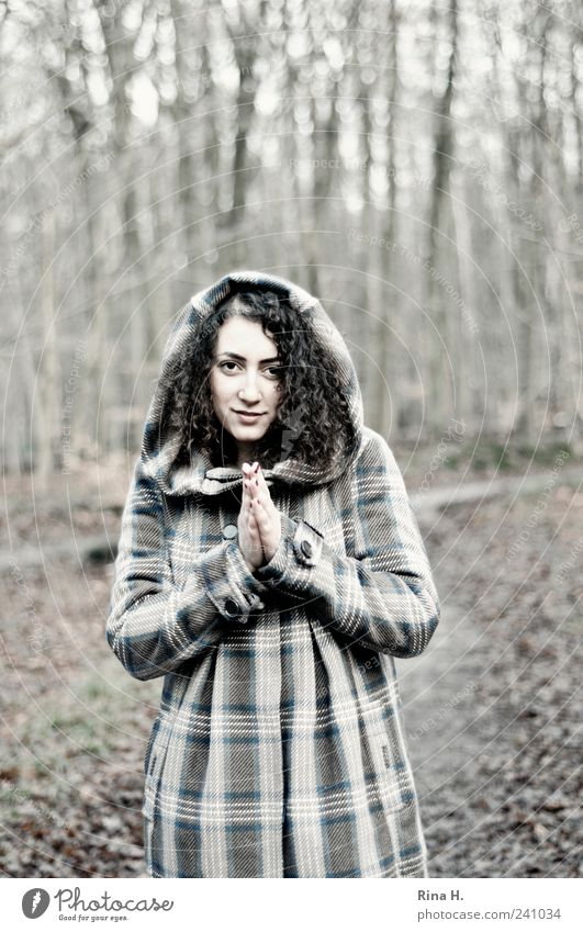WinterWald II ( Please... ) Feminine Young woman Youth (Young adults) 1 Human being Nature Landscape Autumn Forest Coat Hooded (clothing) Black-haired