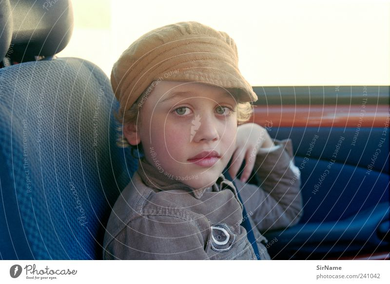163 [co-pilot] Vacation & Travel Trip Freedom Parenting Child Boy (child) Infancy Life Human being 8 - 13 years Motoring Car Shirt Cap Blonde Beginning Identity