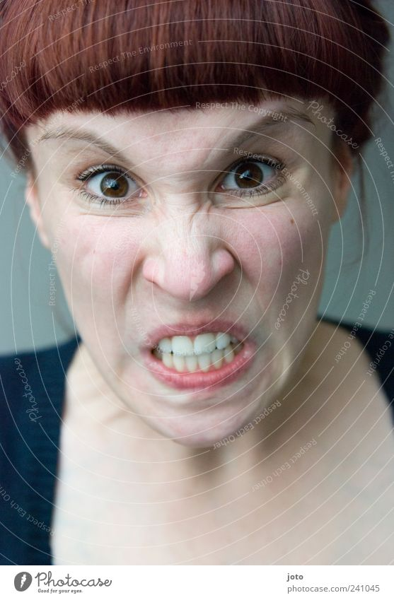 Youth (Young adults) Feminine Emotions Young woman Fear 18 - 30 years Crazy Anger Stress Brunette Facial expression Distress Bangs Grimace Aggression Aggravation