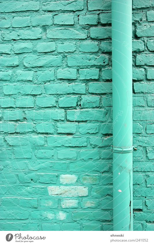 Green House (Residential Structure) Wall (building) Architecture Stone Wall (barrier) Building Facade Manmade structures Brick Pipe Turquoise Rain gutter Colour