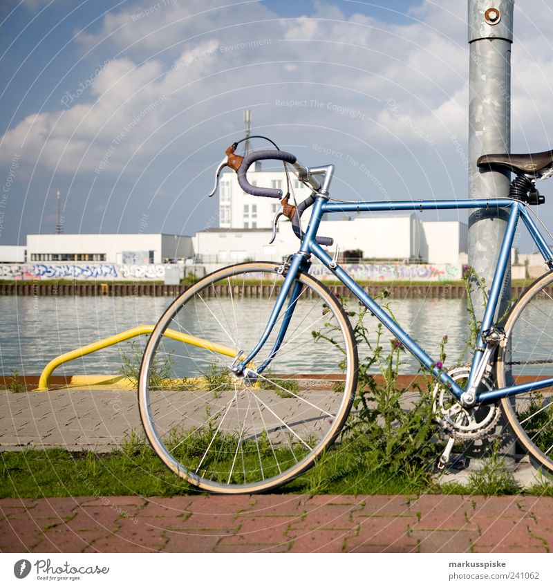 retro racing bike Lifestyle Style Leisure and hobbies Summer Bicycle fixy single speed singlespeed fixed gear Town Outskirts Deserted