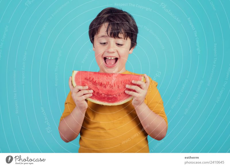Happy child eats watermelon Child Human being Joy Eating Lifestyle Healthy Boy (child) Food Fruit Masculine Nutrition Infancy Smiling To hold on Wellness