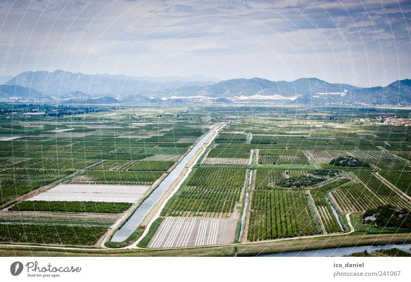 Neretva Delta in Croatia Nature Landscape Water Sky Climate Weather Field Mountain River bank Bay Europe Vacation & Travel Esthetic Authentic Simple Blue Green