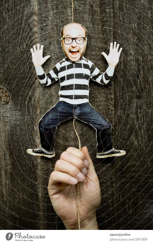 Human being Man Youth (Young adults) Hand Adults Movement Funny Young man Masculine Crazy Facial expression Toys Scream Whimsical Comic Humor