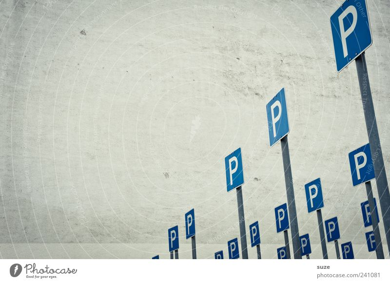 parking space Places Wall (barrier) Wall (building) Transport Sign Signs and labeling Road sign Funny Blue Gray Parking lot Search for a parking space