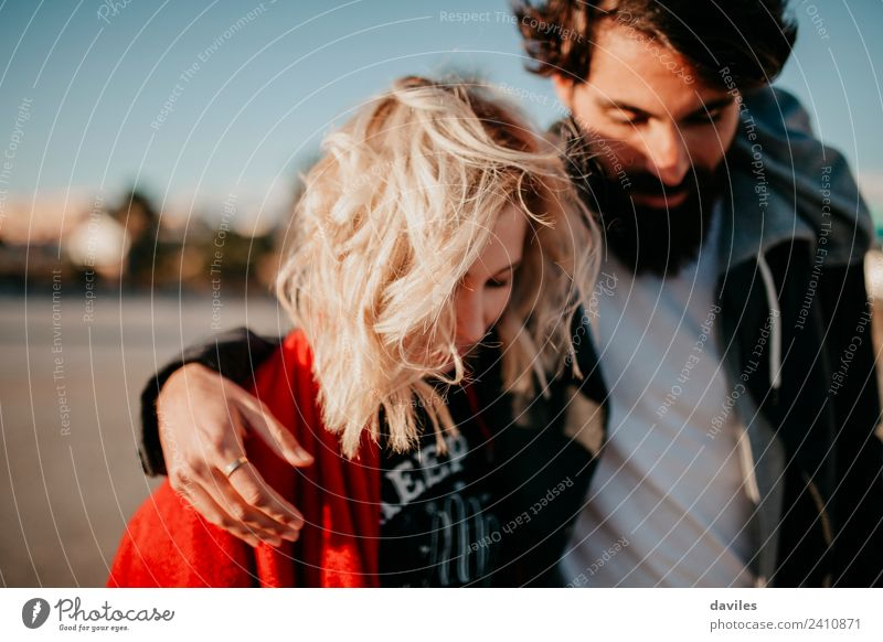 Close up portrait of cool hipster couple walking Lifestyle Joy Woman Adults Man Couple Fashion Blonde Beard Smiling Love Embrace Cool (slang) Happiness Together