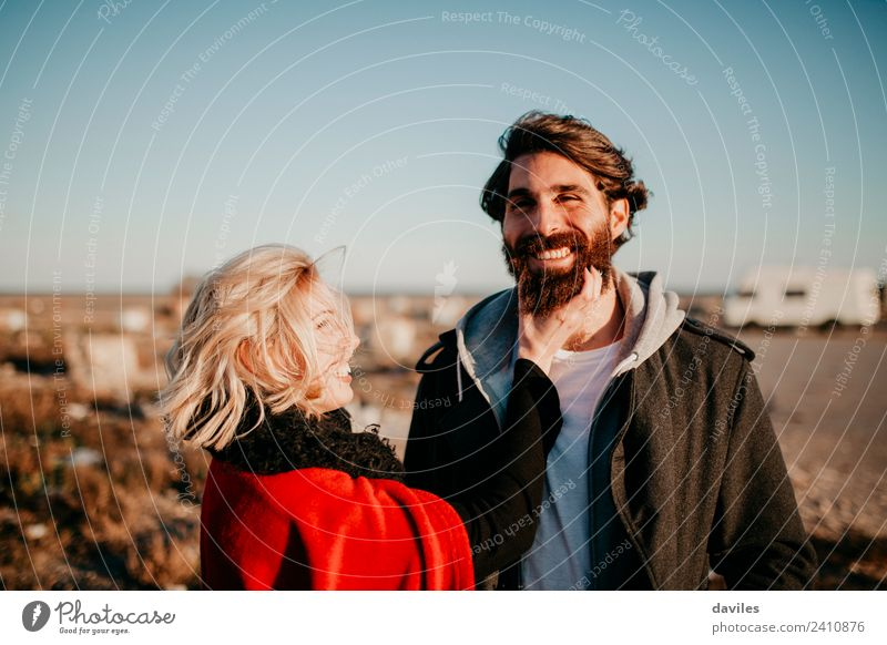 Hipster couple having fun together outdoors. Lifestyle Joy Young woman Youth (Young adults) Young man Couple Partner Facial hair 2 Human being 18 - 30 years