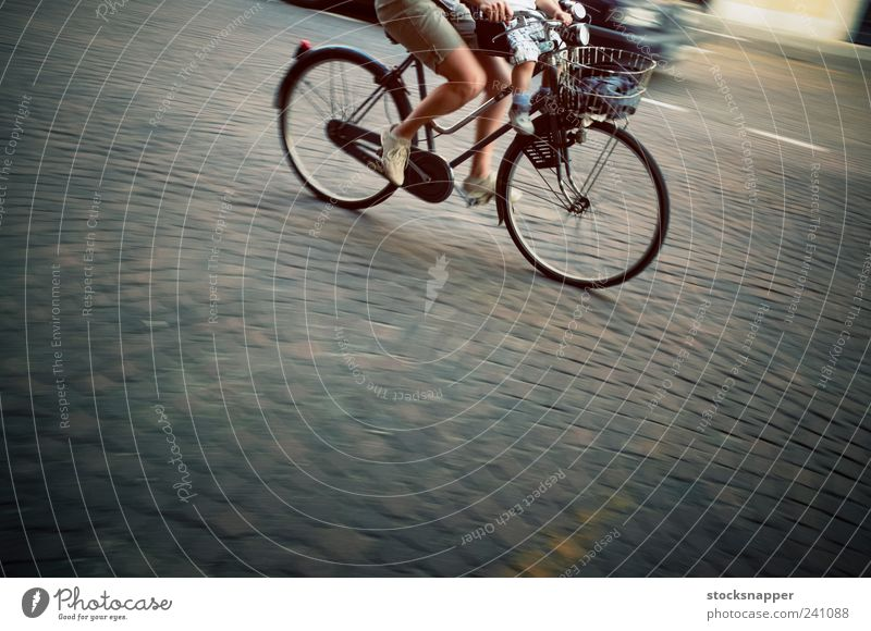 Bicycle Woman Cycling Cycle Speed Movement Blur Street pebble stone Together riding Feet