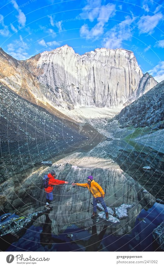 Team of rock climbers. Human being Nature Adults Life Sports Mountain Friendship Hiking Masculine Adventure Help Climbing 18 - 30 years Trust Balance Teamwork