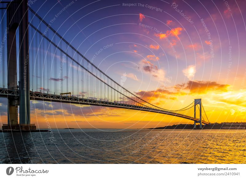 Sunset over the Verrazano bridge Nature Landscape Water Sky Clouds Night sky Sunrise Weather Beautiful weather Park River bank Ocean USA Town Capital city