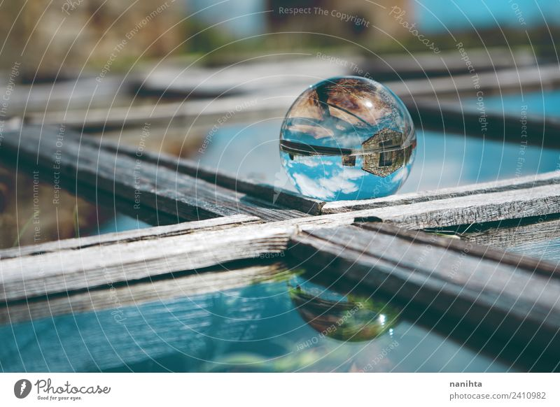 Abstract image of an old house reflected in a crystal ball Style Design Environment Nature Sky Clouds Village House (Residential Structure) Window Lens