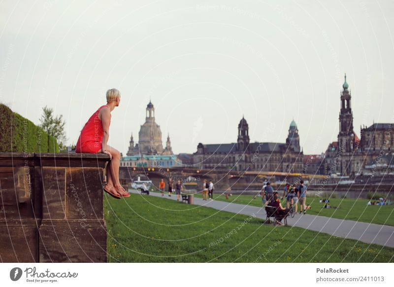 #A# View to Dresden Art Work of art Painting and drawing (object) Esthetic Saxony Elbufer Frauenkirche Dresden Hofkirche Baroque baroque city Romance City trip
