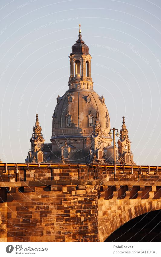 #A# Golden lady Art Work of art Esthetic Dresden Frauenkirche Elbufer Domed roof Tourist Attraction Landmark Baroque Old town Tourism Colour photo