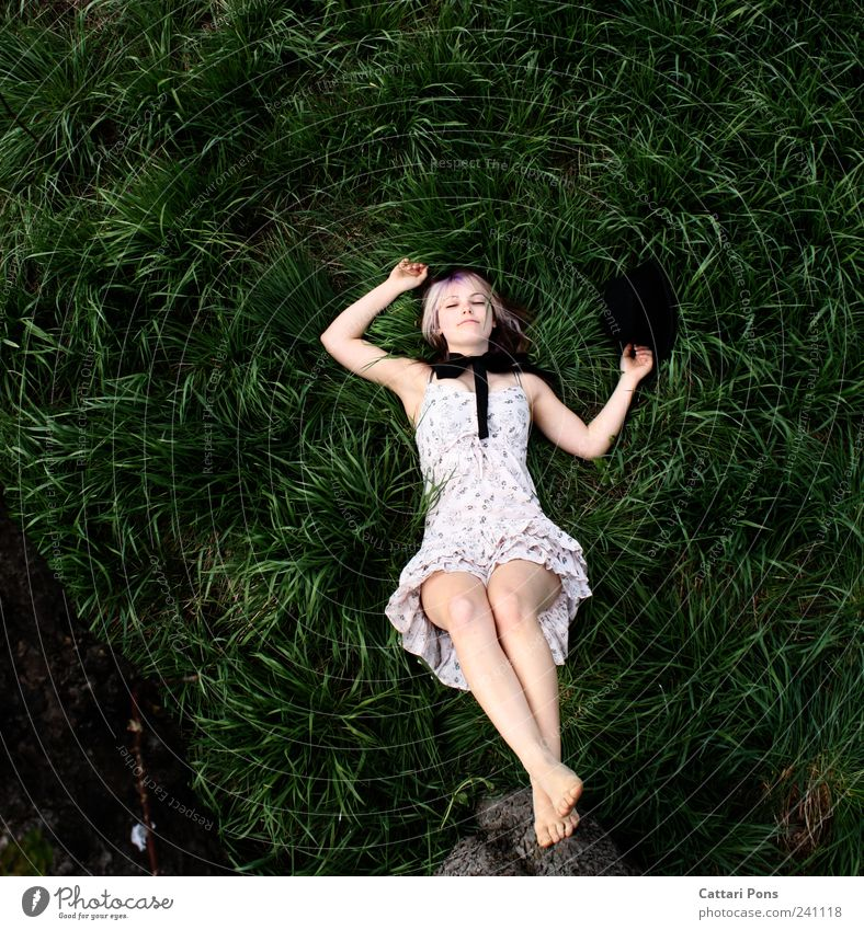 sleeping rabbit Feminine Young woman Youth (Young adults) Woman Adults 1 Human being Environment Nature Plant Tree Grass Meadow Dress Bow Barefoot Hat