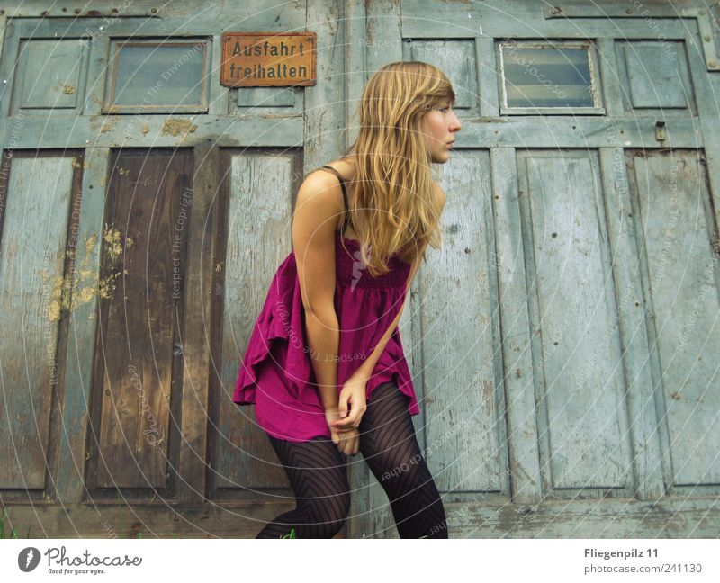 oops Style Feminine Young woman Youth (Young adults) Hair and hairstyles 1 Human being Dress Tights Blonde Long-haired Observe Hip & trendy Retro Beautiful Pink