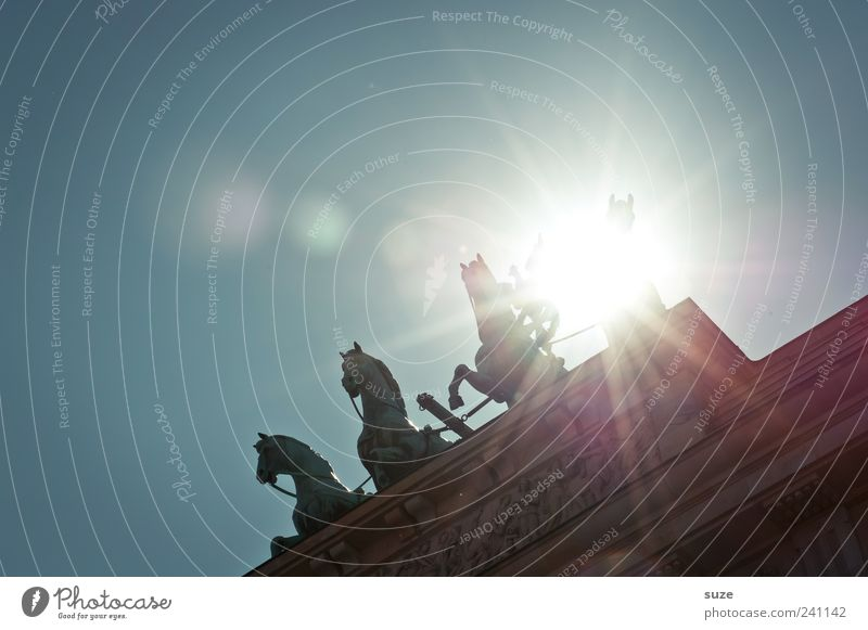 Sky Blue Sun Clouds Berlin Art Germany Europe Esthetic Culture Symbols and metaphors Horse Historic Manmade structures Monument Statue
