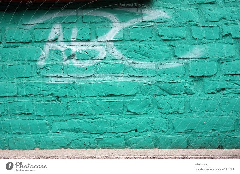 Green House (Residential Structure) Wall (building) Graffiti Wall (barrier) Stone Building Facade Characters Manmade structures Brick Turquoise Trashy