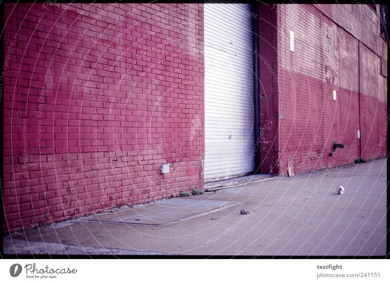 slow century Port City Industrial plant Manmade structures Building Architecture Old Warehouse Depot Gate Rolling door Mug Trash Red Brick facade