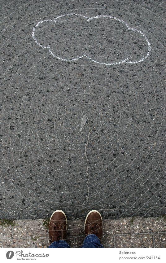 Human being Nature Water Environment Street Grass Legs Feet Rain Footwear Wind Wet Trip Stand Drops of water Asphalt