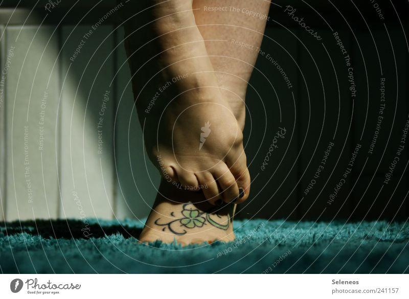 Human being Feminine Legs Feet Flat (apartment) Living or residing Bathroom Soft Tile Tattoo Carpet Leaf Cloverleaf Tattooed