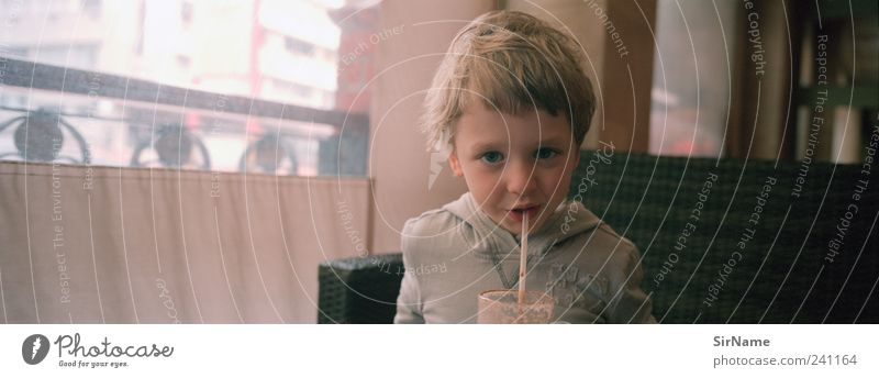 164 [great little shared pleasure] Candy Drinking Hot drink Hot Chocolate Glass Straw Lifestyle Child Boy (child) Infancy Human being 3 - 8 years To enjoy