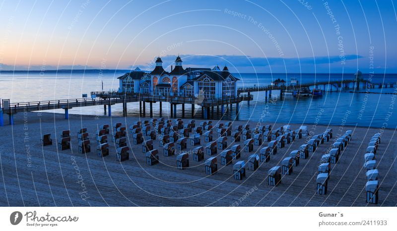 Panorama picture at the Blue Hour Seebrücke Sellin, Baltic Sea, Rügen Harmonious Relaxation Vacation & Travel Tourism Trip Adventure Far-off places Freedom