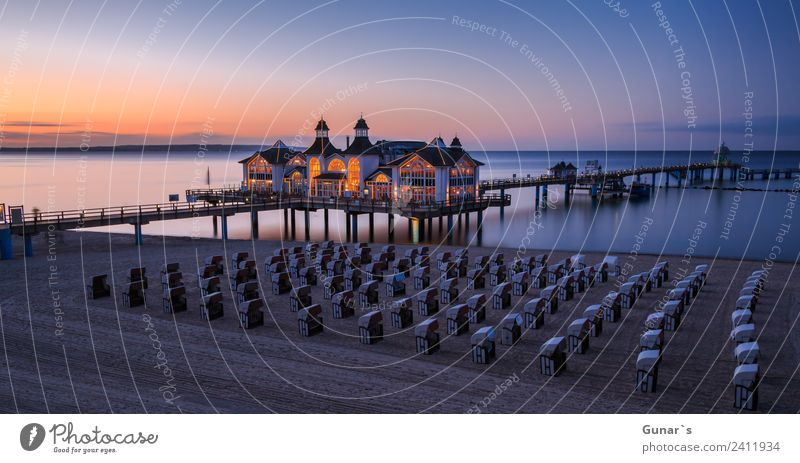 Panorama picture at the Blue Hour Seebrücke Sellin, Baltic Sea, Rügen Harmonious Relaxation Vacation & Travel Tourism Trip Far-off places Camping