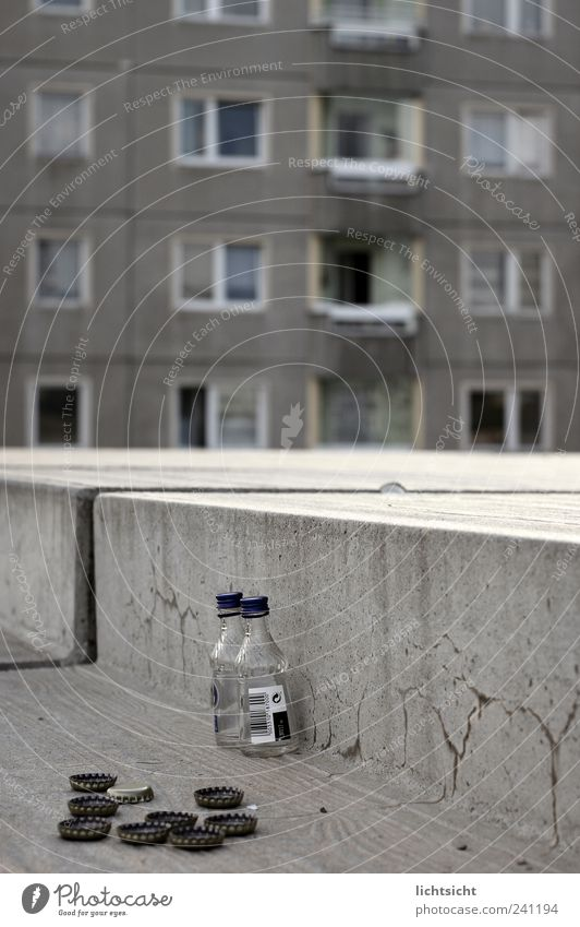 City House (Residential Structure) Window Gray Facade Stairs Places Concrete High-rise Gloomy Drinking Decline Bottle Shabby Alcoholic drinks Distress