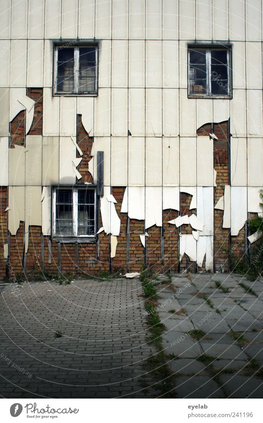 Old White House (Residential Structure) Window Wall (building) Architecture Gray Wall (barrier) Building Facade Dirty Wild Broken Gloomy Plastic Factory