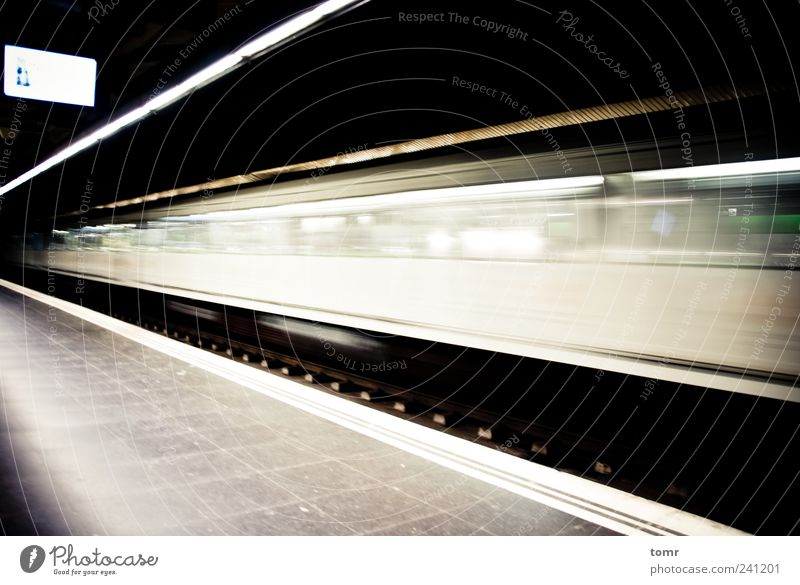 Destination unknown Means of transport Public transit Underground Rail vehicle Train station Far-off places Speed Gloomy White Longing Subdued colour