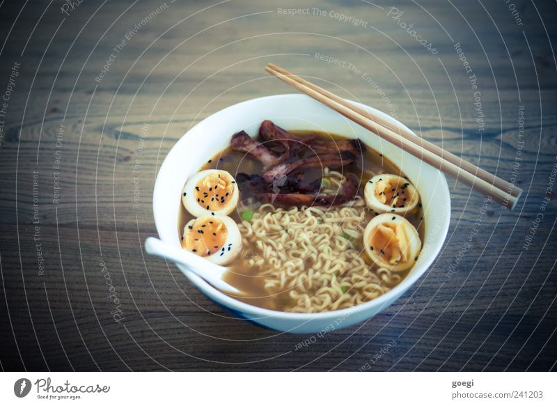 ramen Food Meat Soup Stew Noodles Egg Noodle soup Nutrition Lunch Dinner Fast food Asian Food Bowl Spoon Chopstick Wood Hot Delicious Wooden table Colour photo