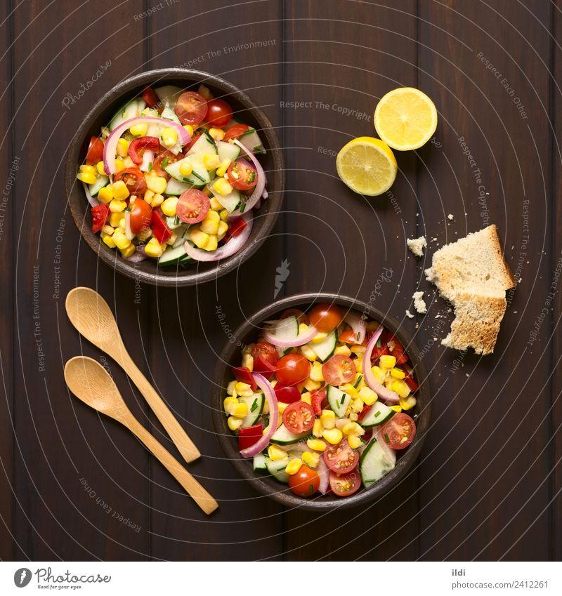Fresh Vegetable Salad Healthy Meal Vegetarian diet Tomato Lemon Rustic Raw Snack Onion Chives