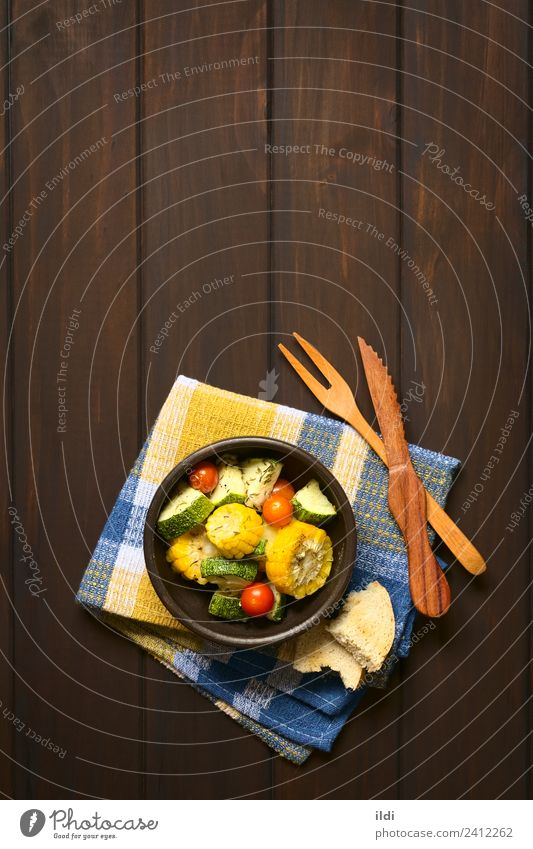 Baked Vegetables Vegetarian diet Fresh Healthy food Snack Meal Dish corn Zucchini courgette Tomato thyme Side piece Slice Rustic toasted overhead copy space