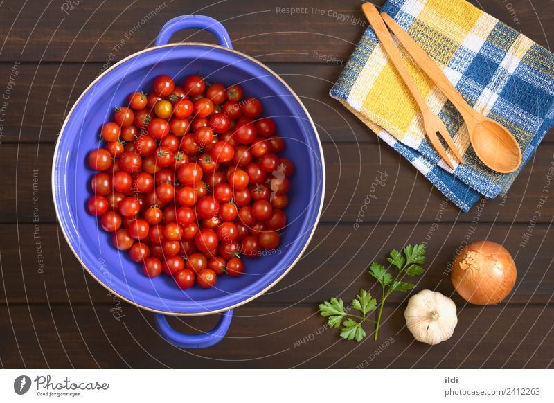 Cherry Tomatoes in Strainer Vegetable Fresh Healthy Red Ingredients cooking strainer food Onion Garlic Parsley wood many overhead Horizontal cherry tomato sieve