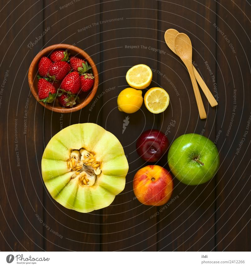 Variety of Fresh Fruits Healthy Berries Mature Vitamin Salad Lemon Strawberry Raw Ingredients Snack Selection Plum Melon Nectarine