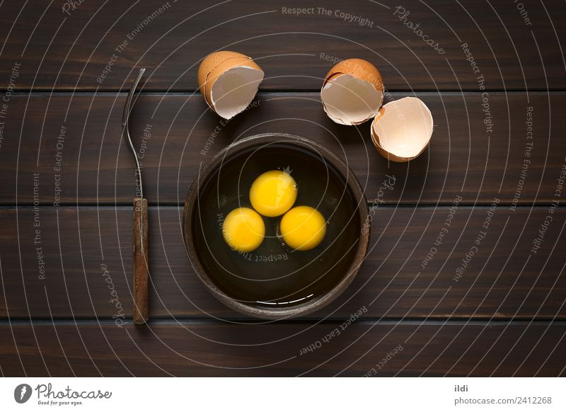 Raw Eggs Open Fresh Breakfast Cooking Horizontal Rustic Ingredients Snack Shell Baking Dairy Products Protein Yolk Eggshell