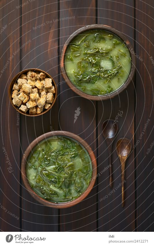 Chard Soup and Croutons Dish Fresh Vegetable Stalk Meal Vegetarian diet Vertical Rustic Verdant Home-made Stew Mangold Beta